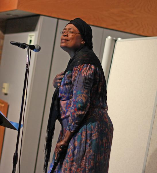"Photo by Amy Price | Professor Naomi Stokes-Wesson reads Sojourner Truth's ""Ain't I A Woman"" during the African-American Read-in"