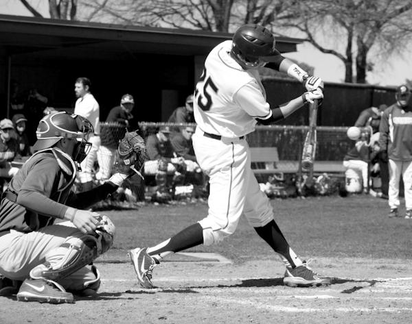 Photos by Scott Mitchell and Kathy Tran | Logan Tucker swings his bat and makes contact, hitting a ground ball.