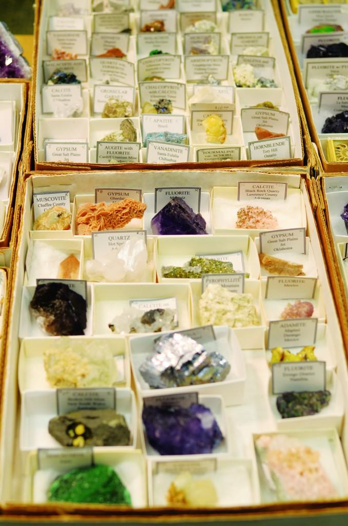 All photos by Travis Baugh    A selection of precious stones displayed by several vendors lines the showrooms of the fair