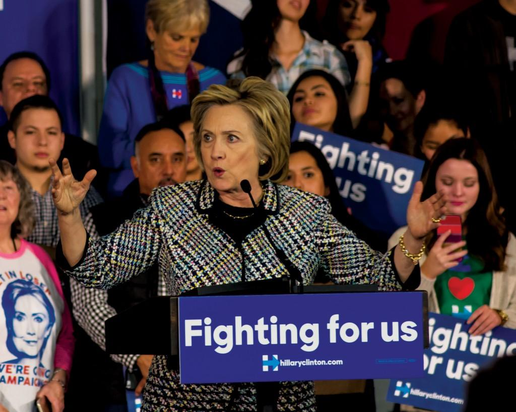 Photo by Michael Dunlap | Democratic presidential candidate Hillary Clinton speaks at a fundraising rally Nov. 17 at Mountain View College.