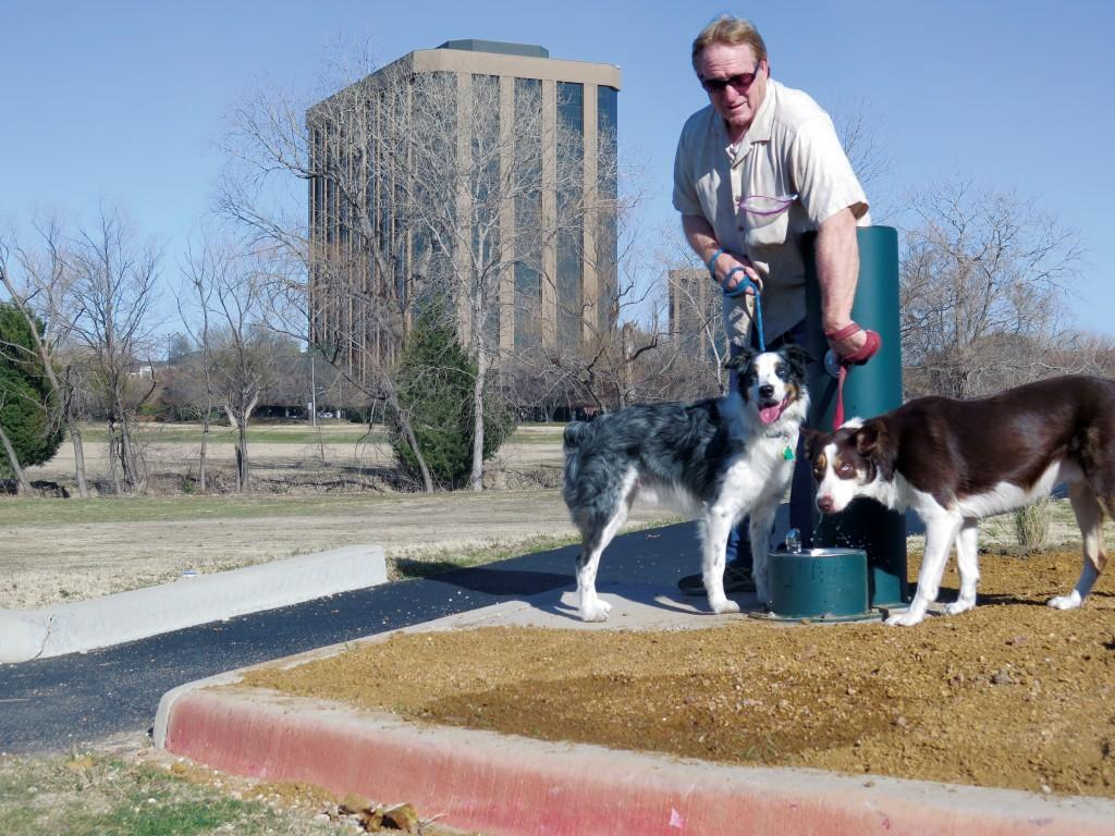 Photo by Diamond Victoria|Charles Daniels, a former Brookhaven College student, stops to let his dogs, Ozzie and Ace, drink from the new fountain installed on the jogging trail near the soccer fields.