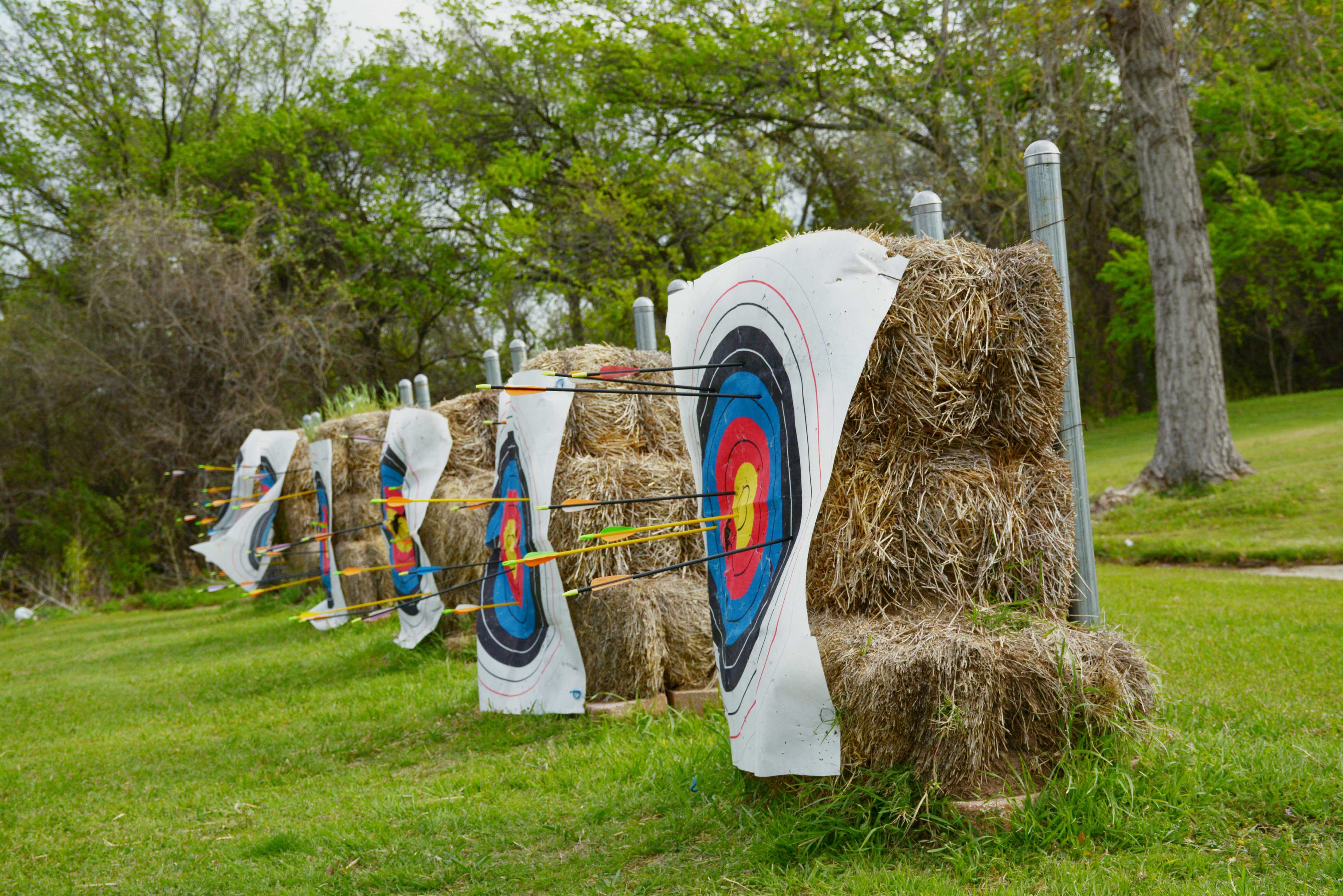Gregorio Hernandez, Brookhaven College physical education instructor, gives his archery class a challenge – each student must shoot once per target, and the class total must beat 150 points. The class scored 175 points.