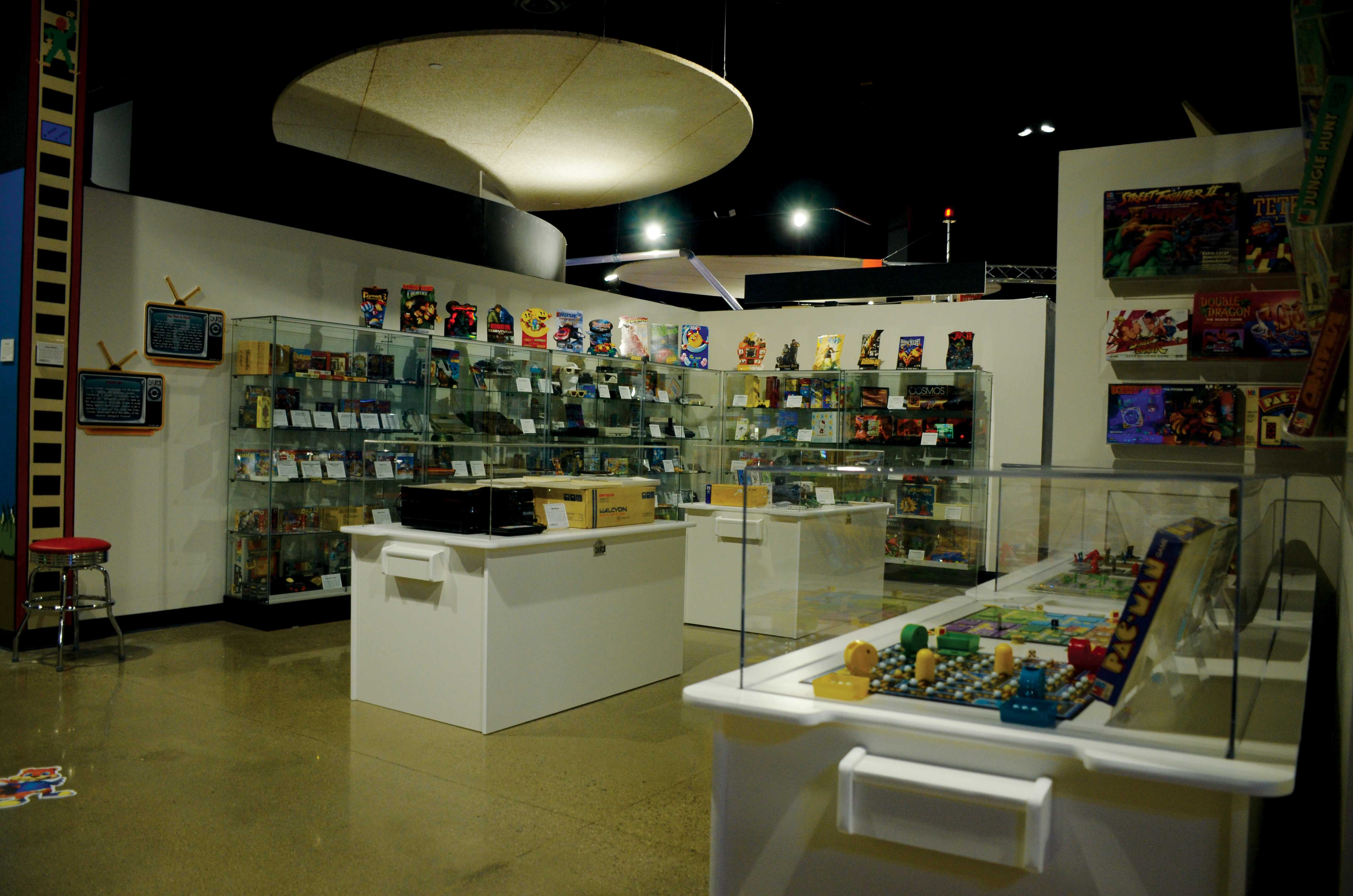 Video game memorabilia lines the walls of the museum.