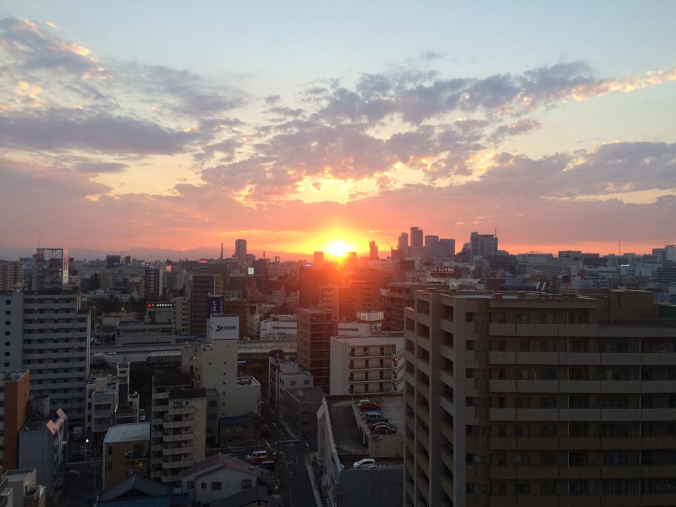 Photos by Ellen Case The sun sets behind the skyline in Nagoya, Japan.