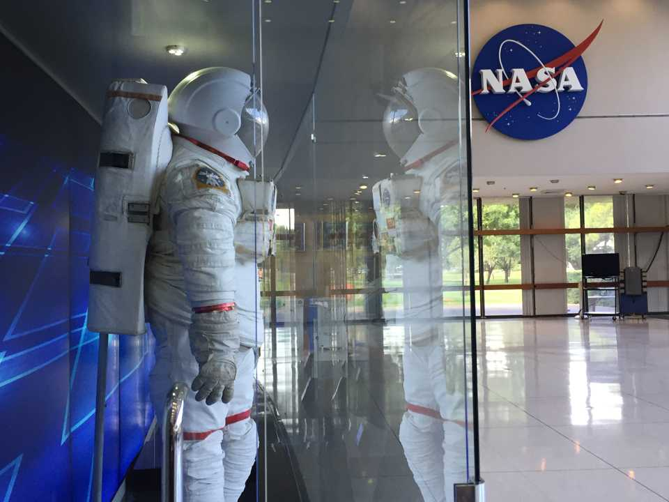 Photo by Juvenal Aguilar The Extravehicular Mobility Unit, or EMU, used by U.S. astronauts is displayed in a glass case at NASA's Johnson Space Center in Houston.