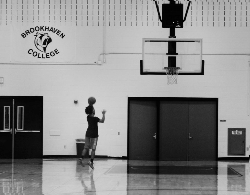 Photo by Diamond Victoria Kevin Mohair, point guard for the Brookhaven College Bears basketball team, practices in the gym on Sept. 28.