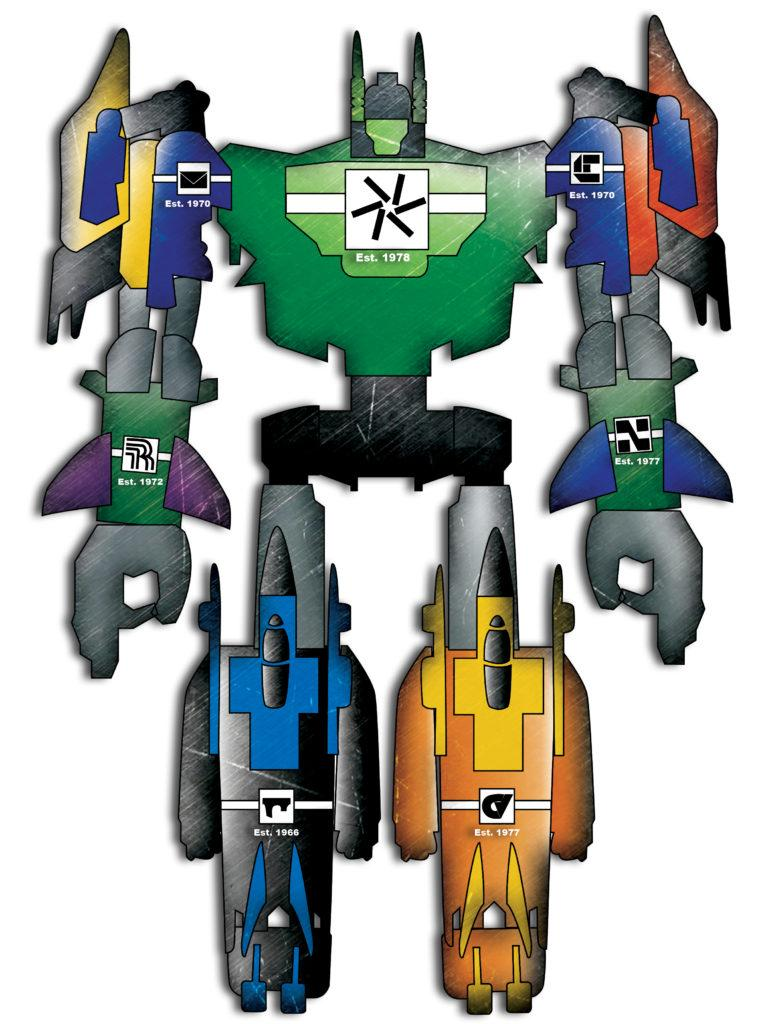 The Megazord giant robot from the Power Rangers animated series, but each limb or segment of a limb is painted in the colors of one of the DCCCD colleges.