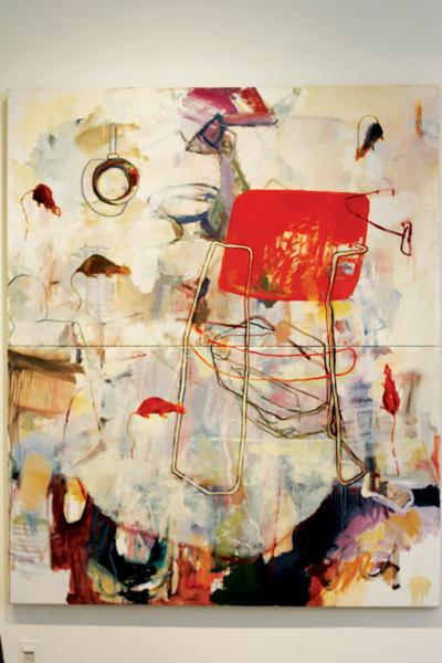 """Brookhaven student Virginia Robertson's first- place painting, titled """"Return to Room F114,"""" is displayed in the Forum Gallery"""