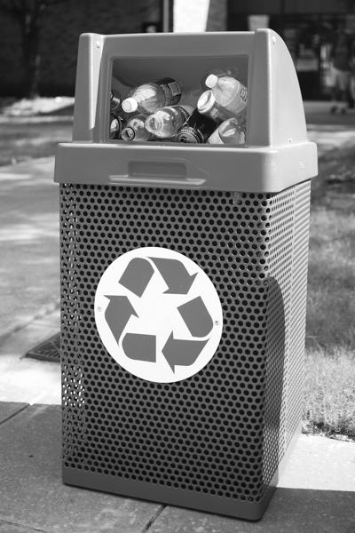 Photo by Scott Mitchell | A full recycling receptacle sits just outside the S Building.
