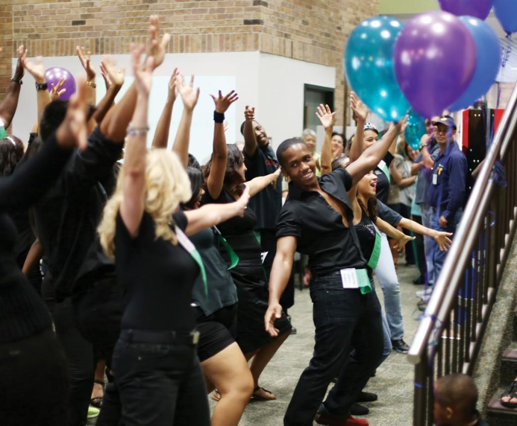 Photo by Scott Mitchell | A flash mob invaded the grand opening ceremony for the Employee Success Center Sept. 30.