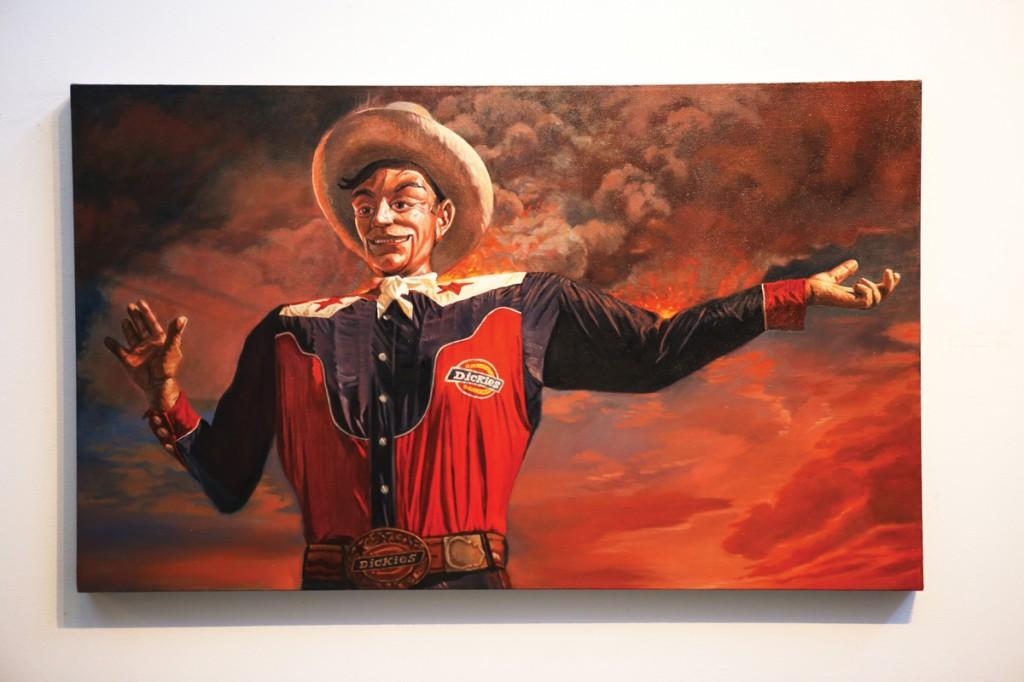 "Photos by Scott Mitchell | Mark Ross' oil-on-canvas painting, 'Big Tex Burning,"" hangs in the Atrium Gallery."
