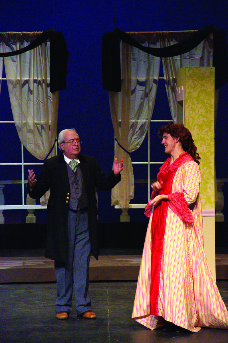 Barry Hoffman (as Papa Leroux) and Eric Bradley practice lines during dress rehearsal