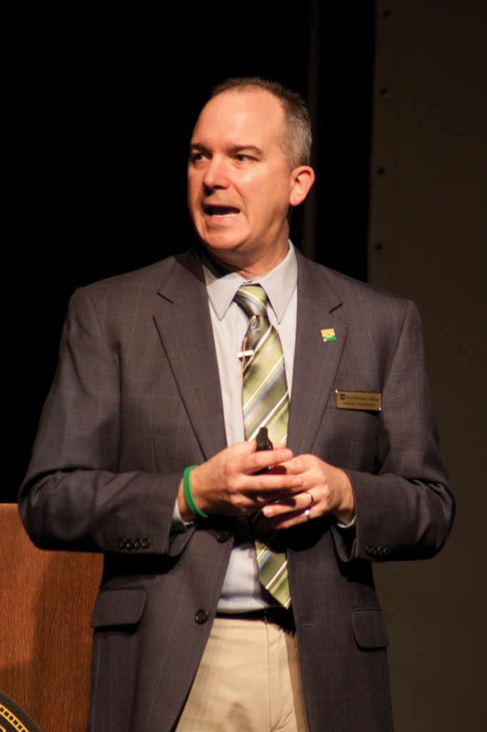 Photo by Nicholas Bostick | Dr. Thom Chesney, Brookhaven College president, answers a question at the Fall Forum Oct.24.