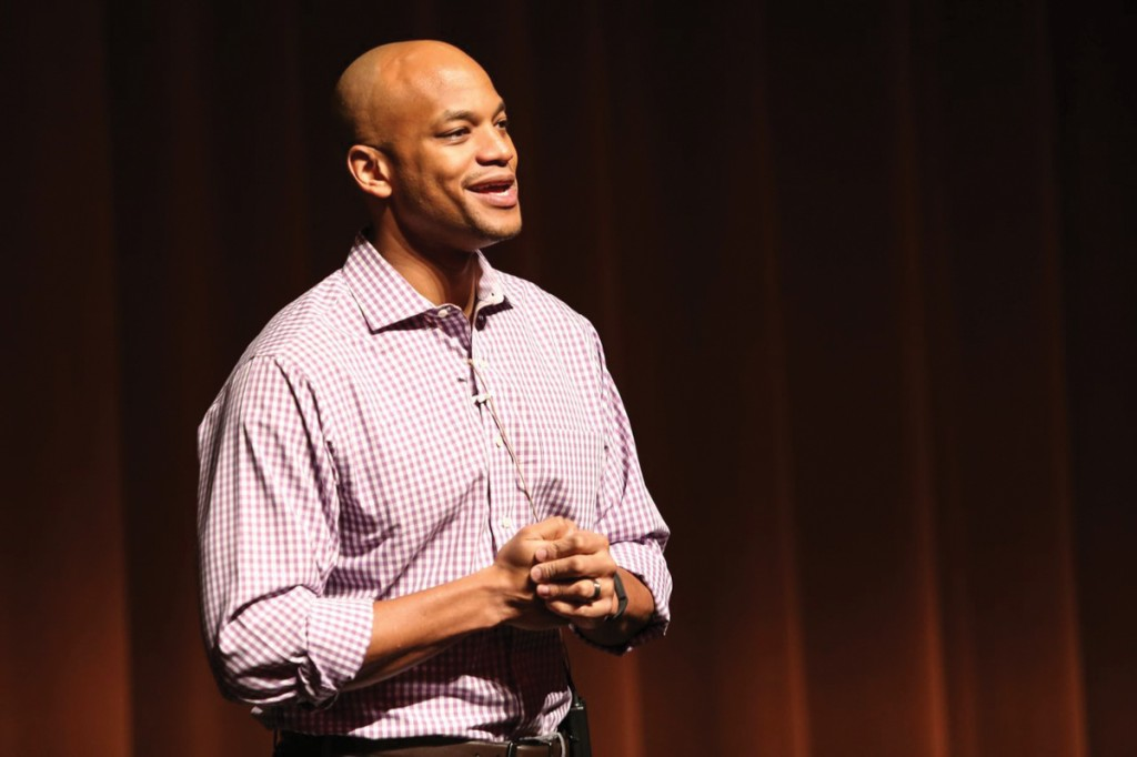 Photo by Kathy Tran | Author Wes Moore speaks to a standing room only crowd in the Performance Hall at Brookhaven College.