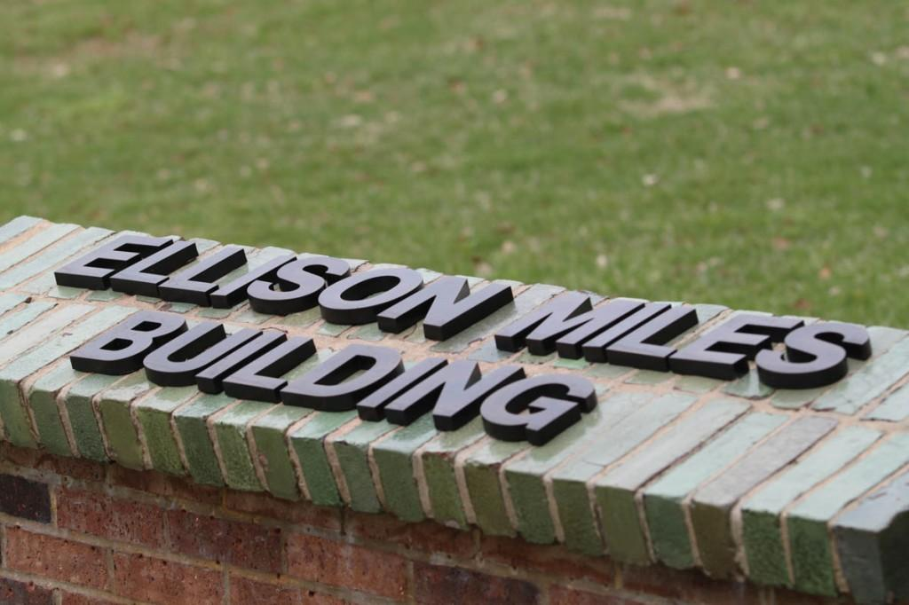 Photo by Nicholas Bostick | A sign outside the former H Building now reads Ellison Miles Building.