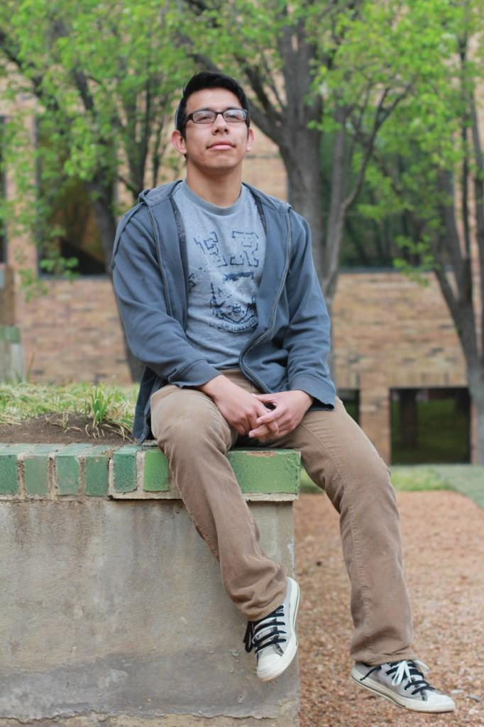 Photo by Maddox Price | Brookhaven student Victor Batres, who initiated the petition for a sustainability coordinator position, sits in front of some of the campus greenery.