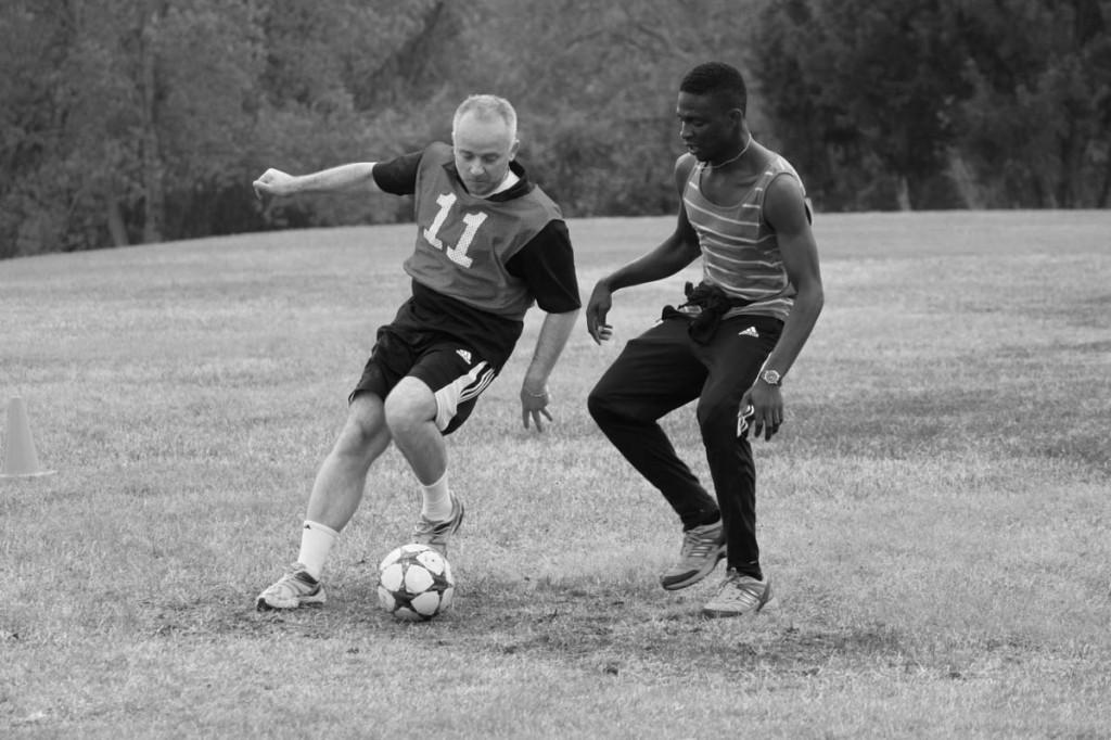 Photos by Brigitte Zumaya |Sandro Reis pretects the ball from Samual Ozazemen Omoregie