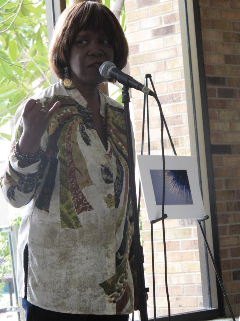 Photo by Nicholas Bostick | Award-winning poet Patricia Smith performs for National Poetry Month.