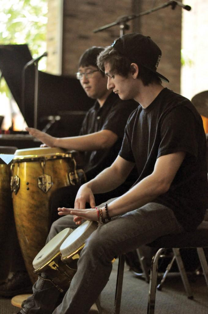 Photos by Adriana Salazar |  Pierce William Bradley make up part of the percussion for the ensemble.