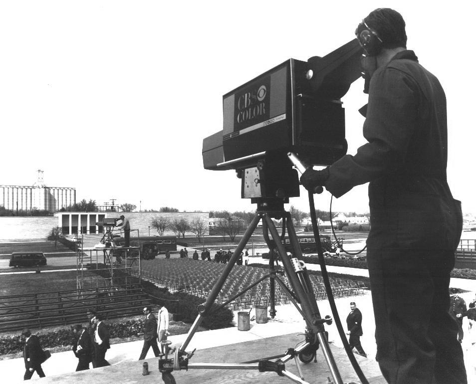 Photo courtesy of Bill Bragg | Bragg, age 23, is operating the camera for CBS at President Dwight D. Eisenhower's funeral service held at the National Cathedral on March 31, 1969.