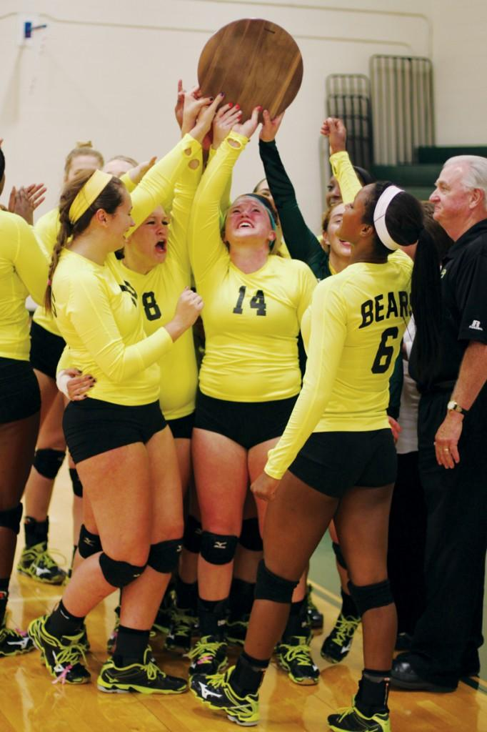 Photos by Nicholas Bostick and Ravin Lee | The Lady Bears celebrate after winning the 2014 Metro Athletic Conference championship game.
