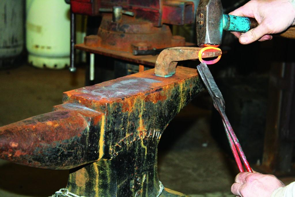 Hammers and tongs are used to manipulate hot metal into various shapes.