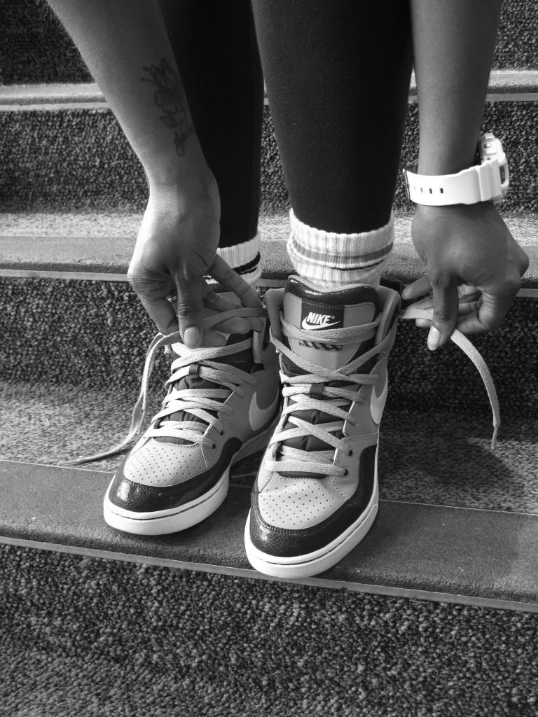 Photo by Brigitte Zumaya |Student shows off her stylish but comfortable sneakers.