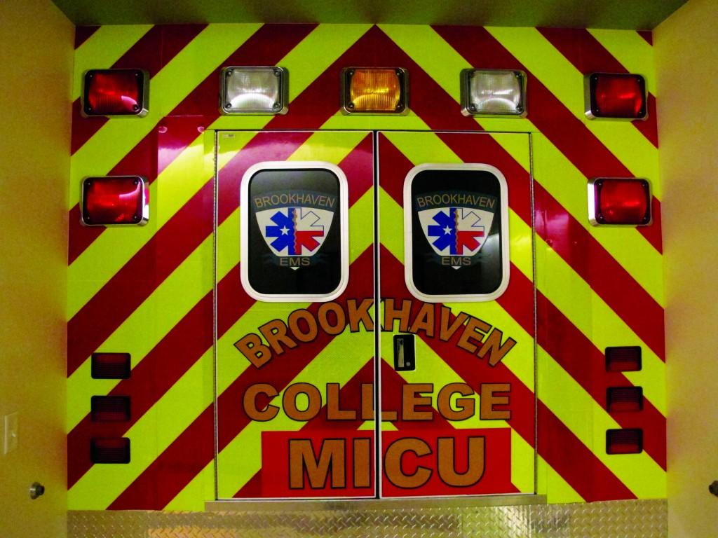 The EMT program practice truck gives students a sense of the tight space in an ambulance.
