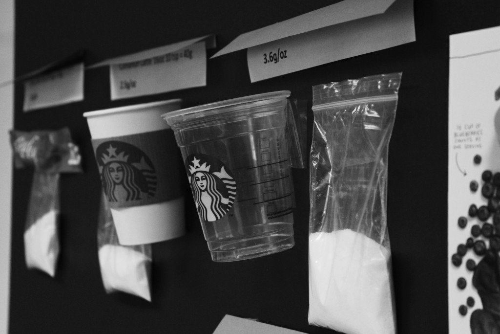 A 16-ounce Starbucks Frappuccino contains 14 1/2 teaspoons of sugar.