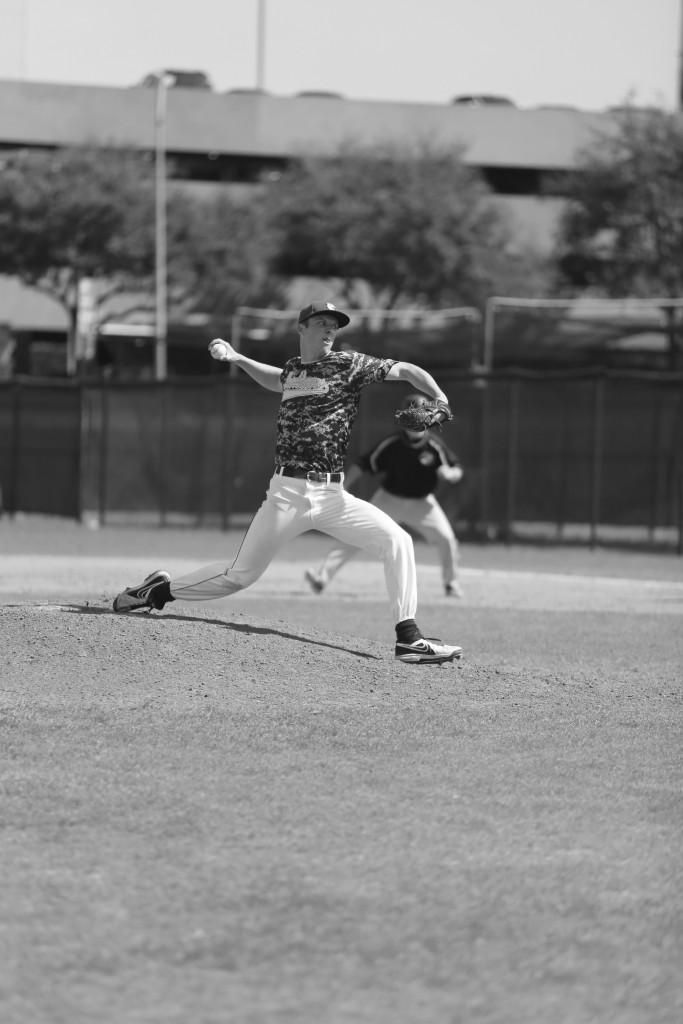 Maddox Price | Chief Layout Editor Brookhaven Bear Tyler Keegan (#21) throws a pitch.