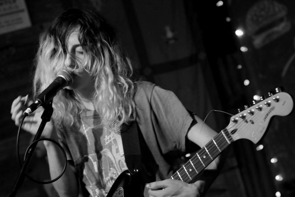Evan Henry | Music Editor Laena Geronimo of Feels performs at Lolipop Records' Love at First Bite 2 at the Whip In in Austin.