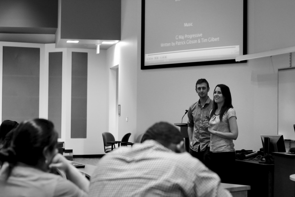 "Photo by Evan Henry | Courier  Filmmakers Chip Hiden and Alexis Irvin talk to students after a screening of their documentary, ""The Dream Share Product."""
