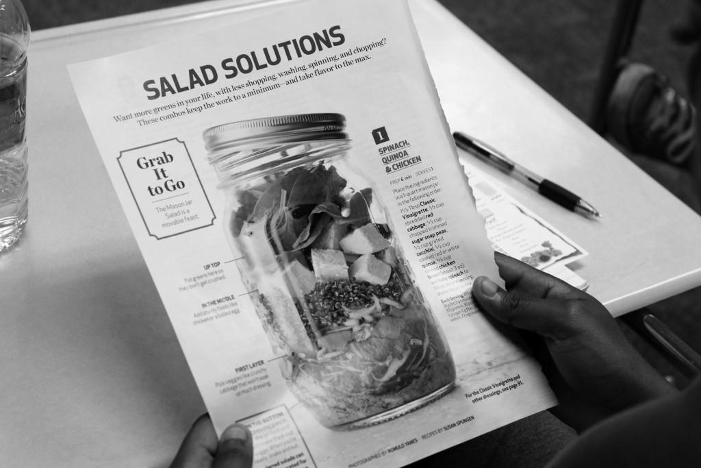 An easy solution to stay healthy is storing a salad in a Mason jar