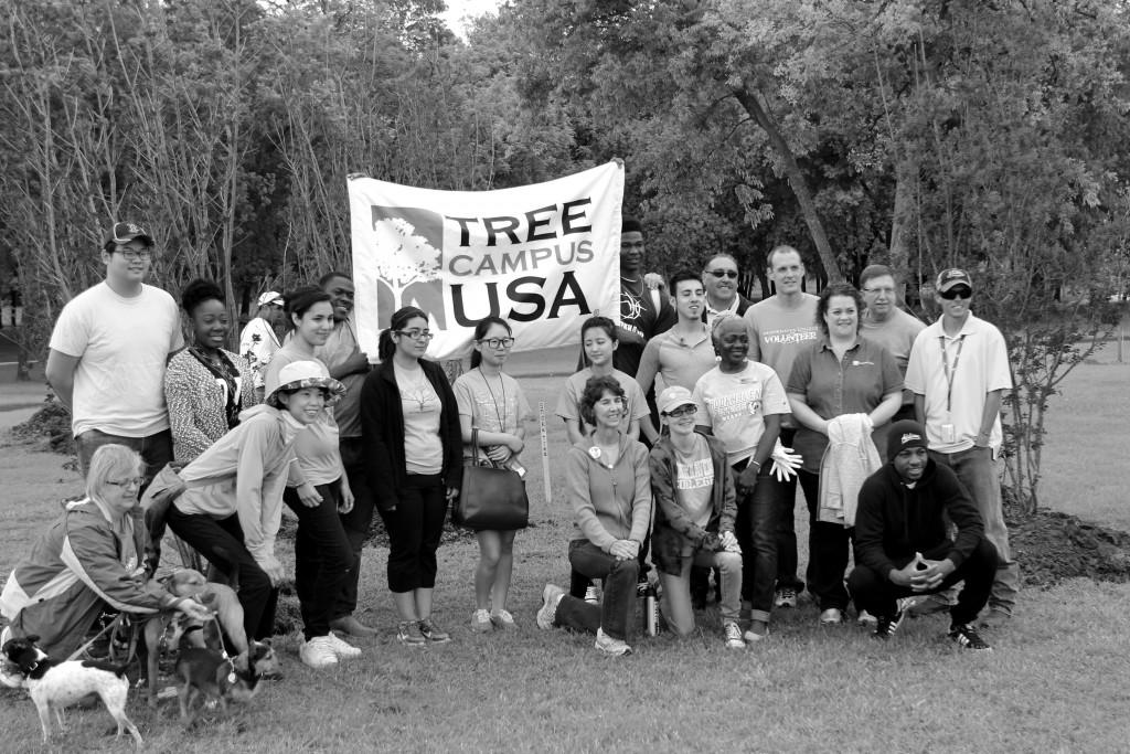 Arbor Day volunteers pose for a group photo.