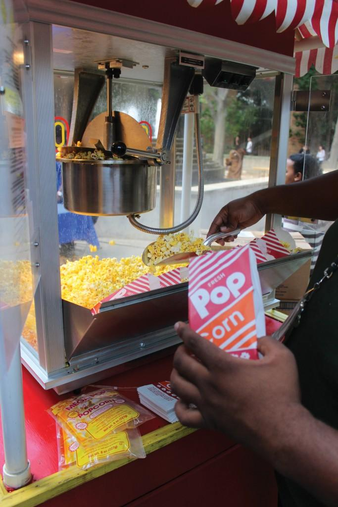 The Office of Student Life provides free popcorn to partygoers.