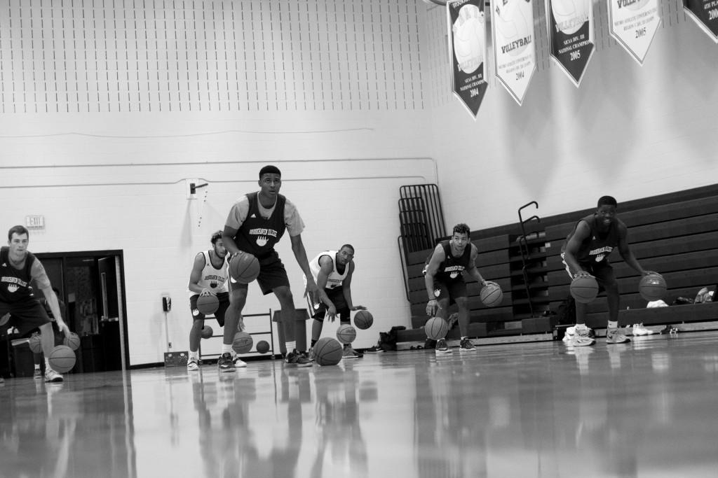 The Brookhaven basketball team practices ball handling drills.