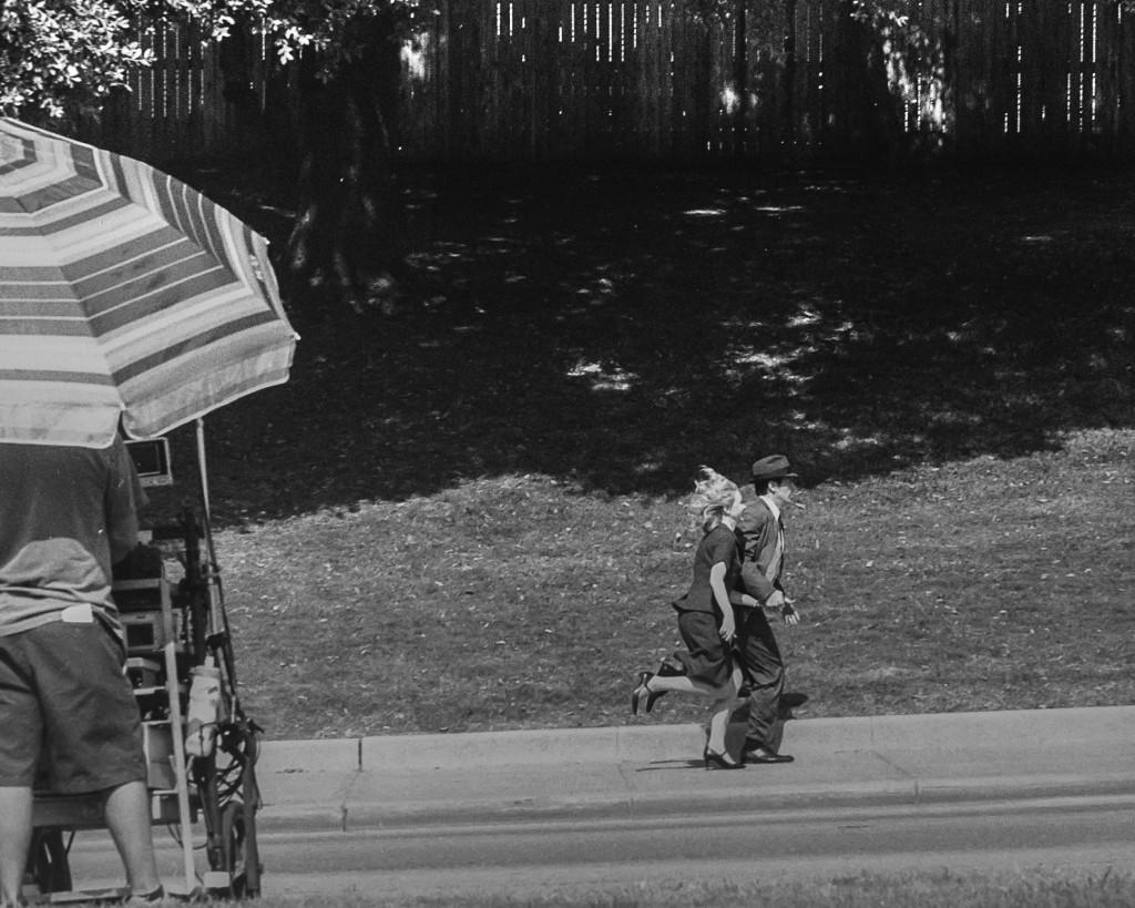 Jake Epping (James Franco) and Sadie Dunhill (Sarah Gadon) race towards the Texas School Book Depository to stop the assassination attempt.