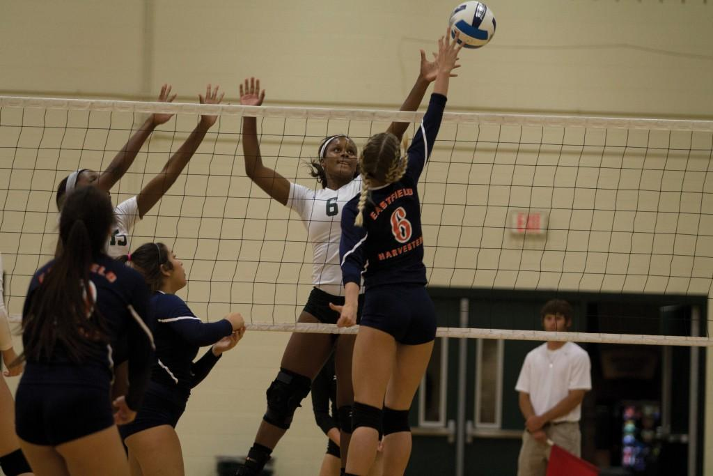 Photo by Ravin Lee |Kelsey Rogers (#6) of the Lady Bears attempts to block a tip from Eastfield's Megan Murphy