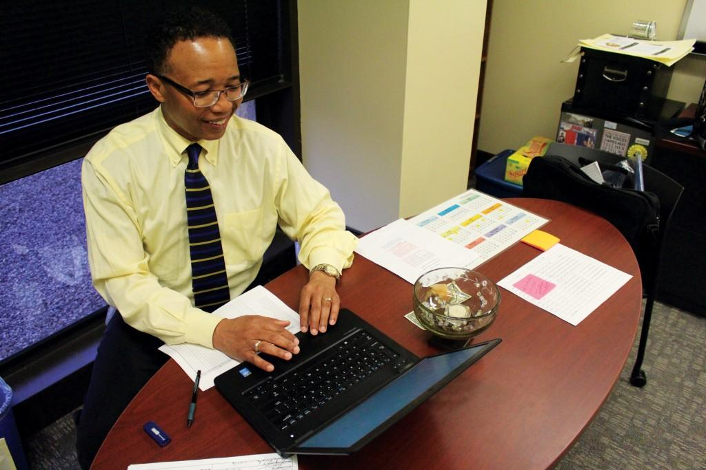 Photo by Brigitte Zumaya |Sandy Wyche, former Brookhaven College dean, settles into his new office at Mountain View College.