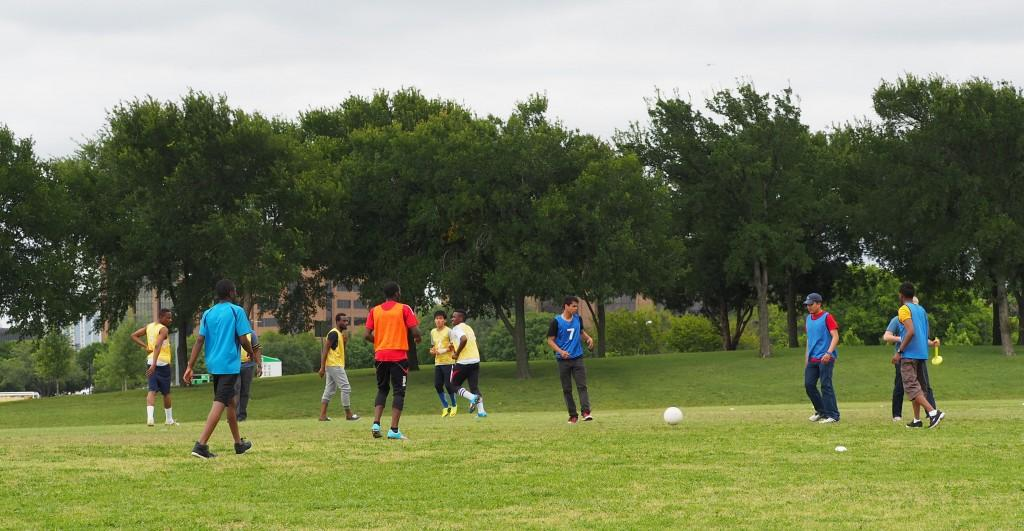 Photo by Jubenal Aguilar | Students in the the ESOL Sports program play soccer April 20. The pilot program was created to give international students an opportunity for social interaction and physical exercise.