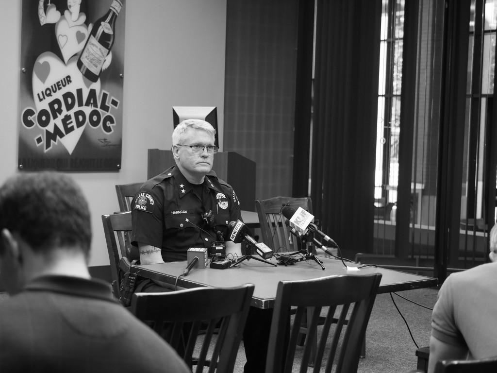 Photos by Jubenal Aguilar El Centro Police Chief Joseph Hannigan gives a press conference to explain what happened inside the campus July 7.
