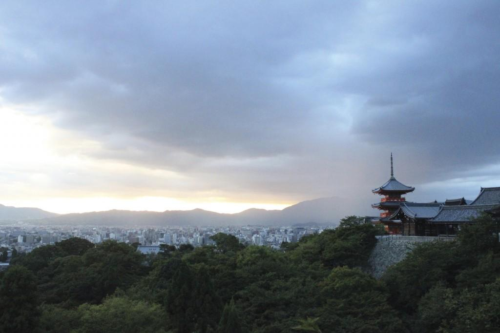 The Kiyomizu-dera temple sits on a hill in Kyoto, Japan.