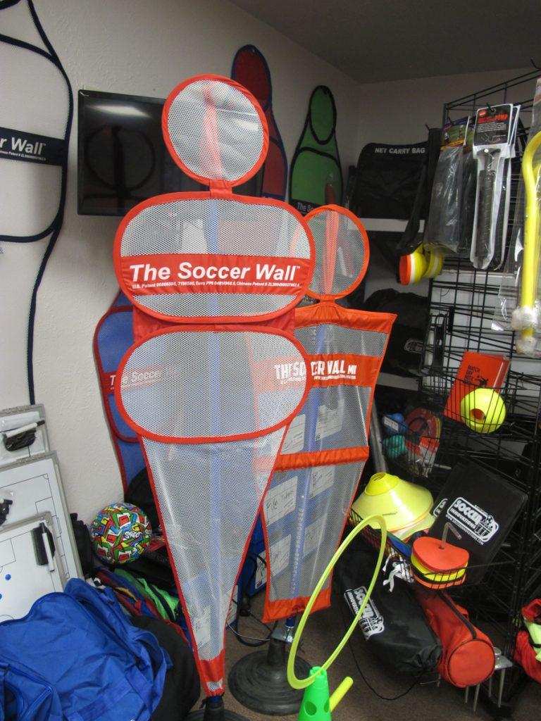 The Soccer Wall mimics players lining up when a shooter takes a kick at the goal during practice drills.