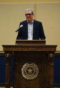 Photo by Eriana Ruiz| John Neal, professor emeritus, speaks at the Texas Community College Journalism Association Convention Oct. 12 after being inducted into the TCCJA Hall of Honor; Neal