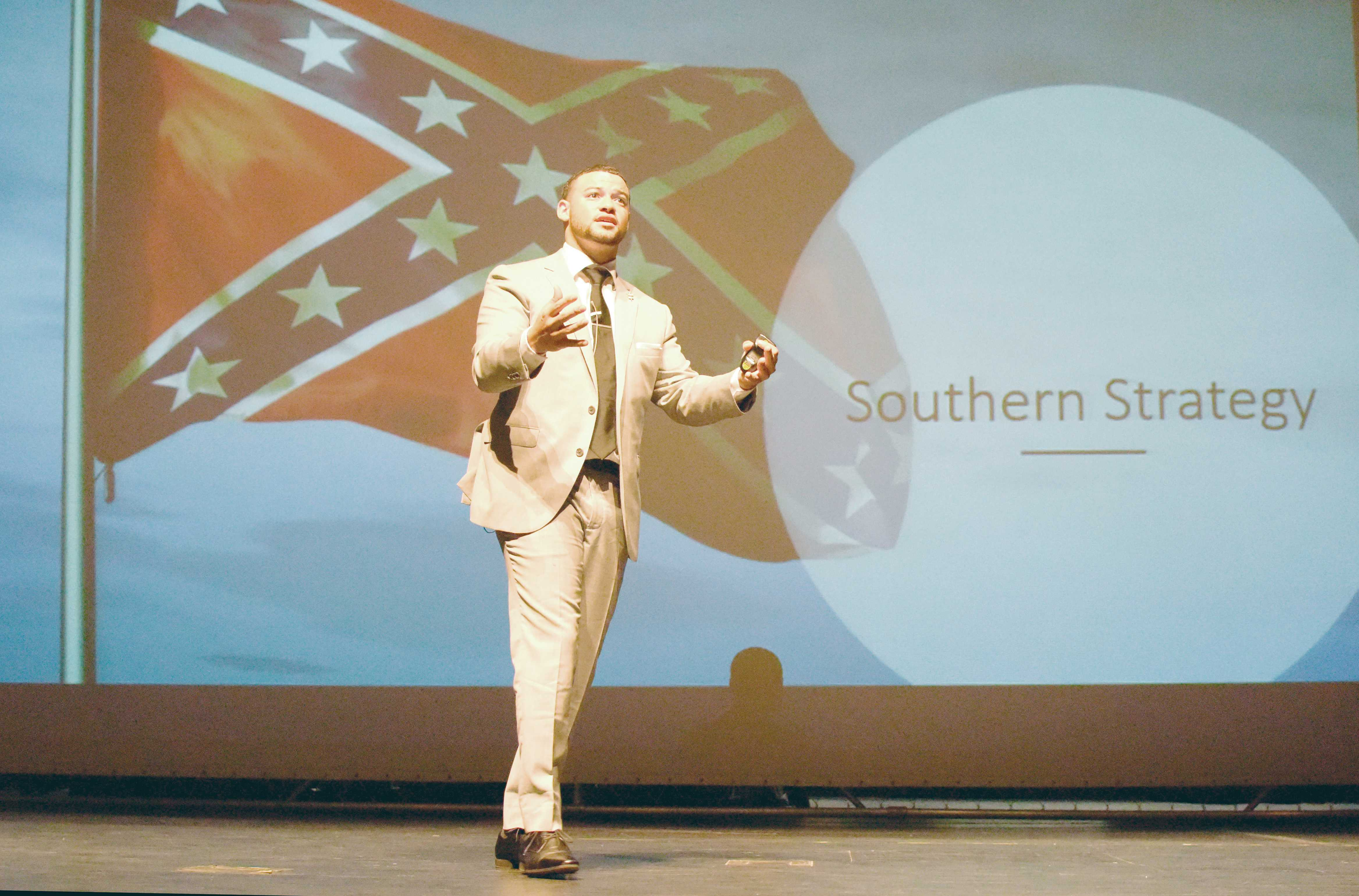 Photos by Brandon Donner |  James Elliot, Phi Theta Kappa Honor Society international president, said students need to lead the changes of the future at Brookhaven College Sept. 17.