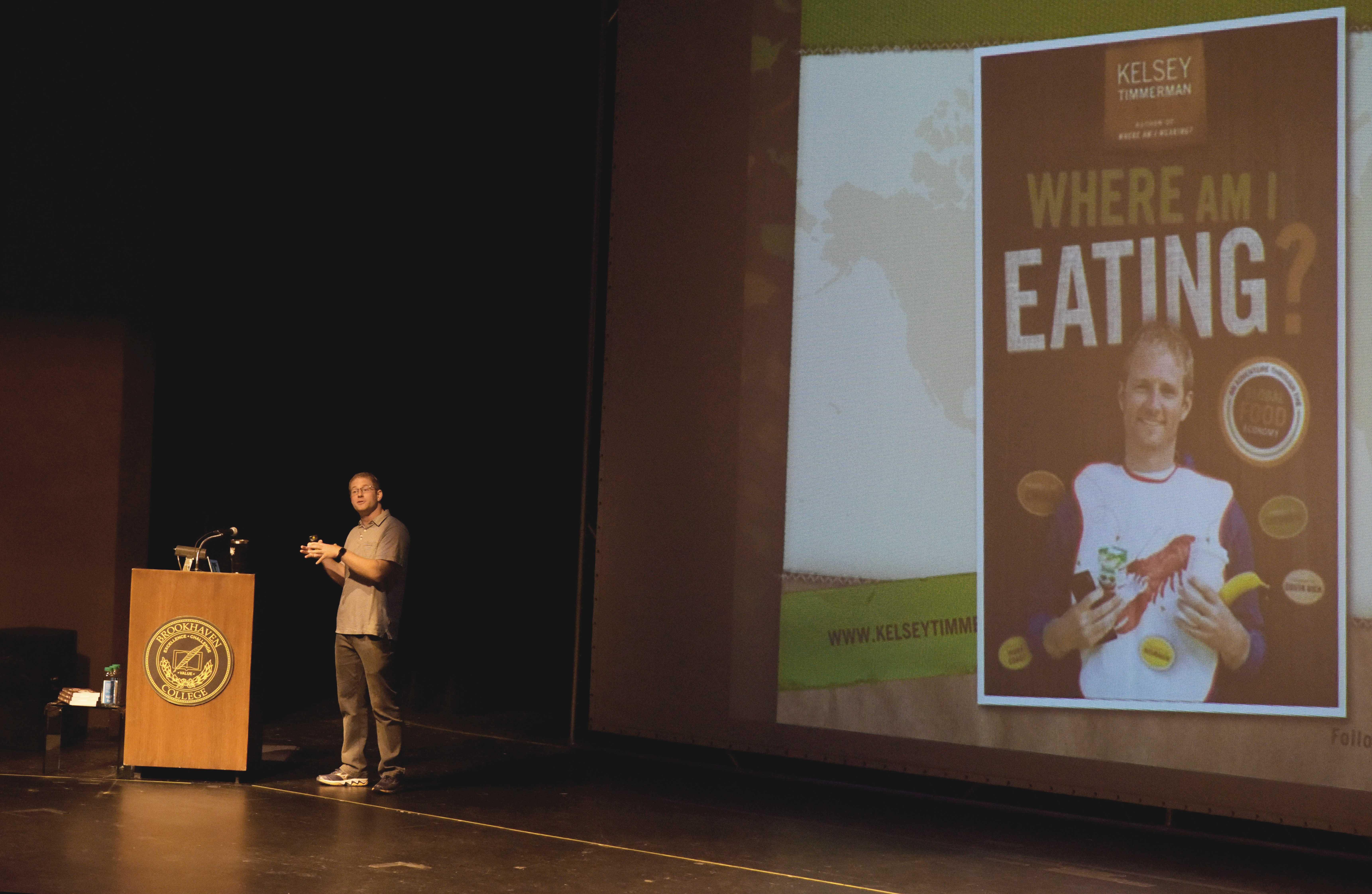 "Photos by Brandon Donner | Kelsey Timmerman, author of ""Where Am I Eating?"" shares a story from his book with students, staff and faculty Sept. 24 in the Performance Hall."