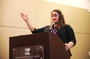 <strong>Photo by Dr. Dank | </strong>Heather Fazio, director of Texans For Responsible Marijauana Policy, speaks to a room full of people about cannabis policy during the Lucky Leaf Hemp Expo Sept. 20 at the Irving Convention Center.
