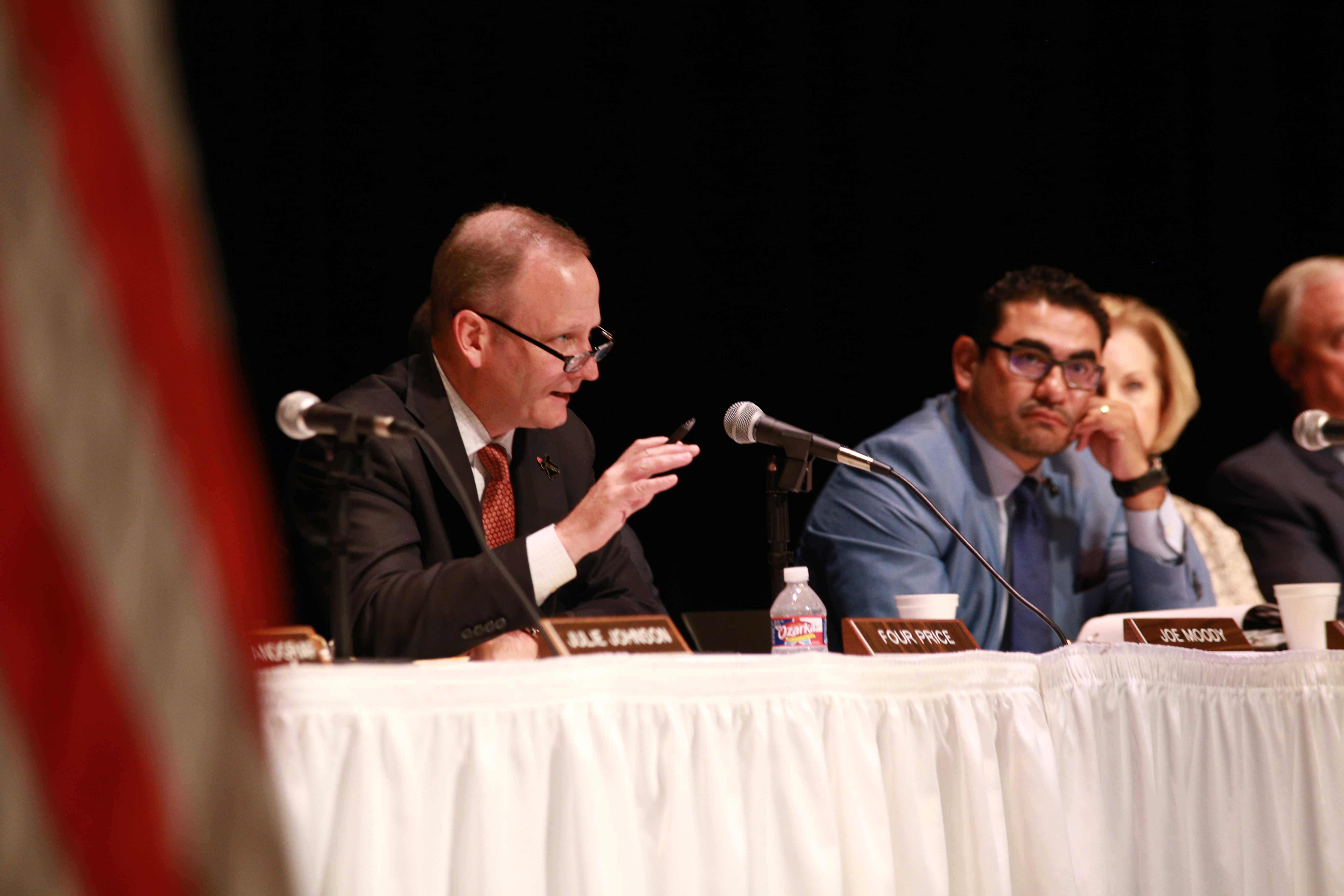 Photo by Jacob Vaughn | Rep. Four Price, a member of The Texas House Committee on Mass Violence Prevention and Community Safety addresses a panel during a hearing Oct. 10 at Brookhaven College.