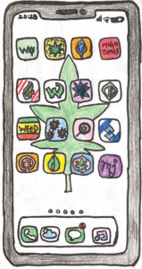 <strong>Illustration by Rinchin Lama   | </strong>Various cannabis community cell phone apps provide social media, cannabis locators and databases where users can find information on products, strains and health.