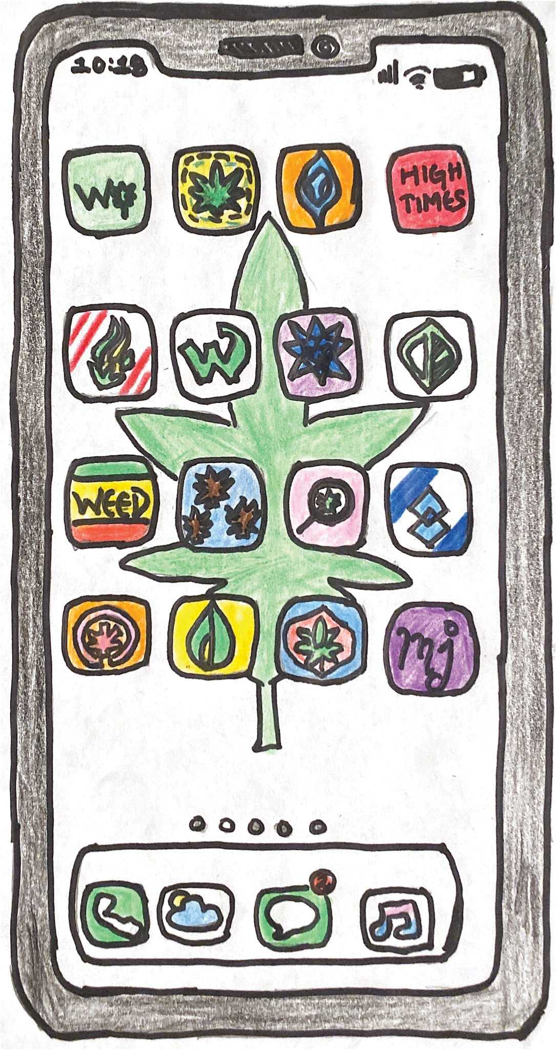 Illustration by Rinchin Lama   | Various cannabis community cell phone apps provide social media, cannabis locators and databases where users can find information on products, strains and health.